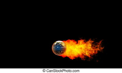 fireball, flammes, la terre