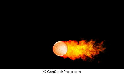 fireball, flammes, volley-ball