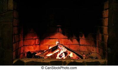fireplace., flame., brûlé