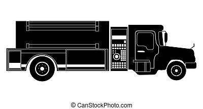 firetruck, silhouette, isolé