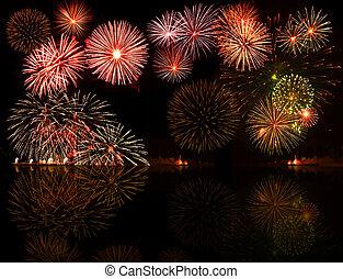 fireworks., ensemble, e.g.2012, coloré, texte, objet, centre, ton, bon, nombres, année, ou