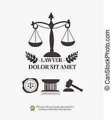 firme, avocat, éléments, logos, poids, typographique, avocat, marteau, droit & loi, label.