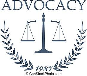firme, bureau, symbole, conception, avocat, droit & loi