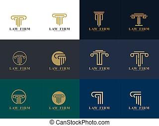 firme, conception, logo, droit & loi, ensemble