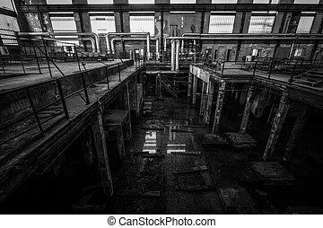 firme, désolé, vieux, espace, intérieur, metallurgical