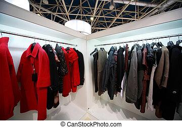 firme, extérieur, stands, habillement, pend, salle exposition, démonstration