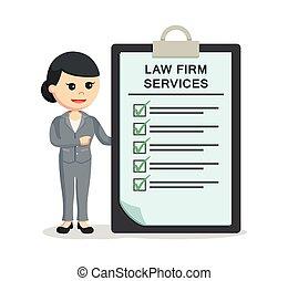 firme, femme, presse-papiers, avocat, services, droit & loi