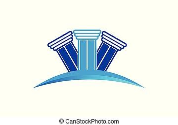 firme, logo, pilier, droit & loi, conception