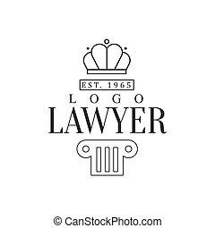firme, silhouette, avocat, bureau, justice, pilier, couronne, symboles, noir, gabarit, logo, blanc, droit & loi