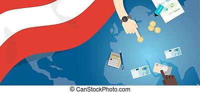 fiscal, carte, concept, financier, banque, argent, autriche, budget, illustration, commercer, monnaie, drapeau, économie