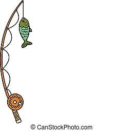 fish, bobine, poteau, peche