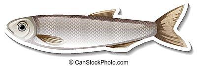 fish, dessin animé, autocollant, gris, une