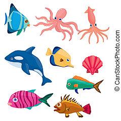fish, dessin animé, icône