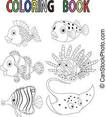 fish, dessin animé, livre, coloration