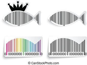 fish, ensemble, barcode, étiquette
