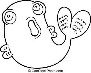 fish, ligne, dessin animé, dessin