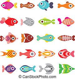 fish, vecteur, ensemble, icône