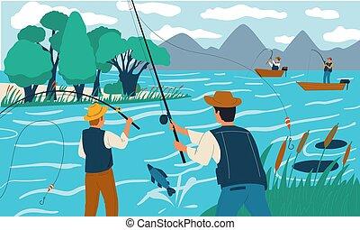 fishing., barres, pêcheurs, été, gens, vacances, fish, illustration, activité, leisure., mâles, heureux, récréatif, scène, ou, vecteur, hobby., lake., vacances, rivage, boat.