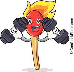 fitness, caractère, dessin animé, baton allumette