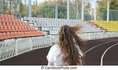 fitness, courant, femme, joli, piste, vêtements de sport, jeune, coureur, mince, stade