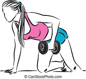 fitness, femme, travail, illustration, dehors