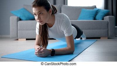 fitness, natte, exercice, planche, yoga, girl