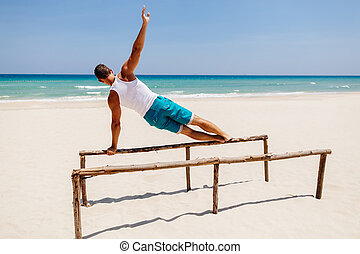 fitness, plage, homme