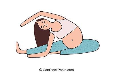 fitness, pregnant, grossesse, séance, étirage, belly., blanc, maman, coloré, jeune, exercice, pilates, isolé, femme, yoga, position., vecteur, corps, fond, elle, illustration, plat