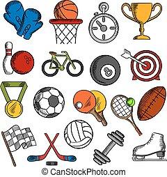 fitness, sport, ensemble, icônes