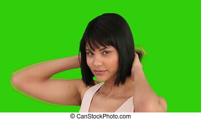 fixation, elle, femme, cheveux, asiatique