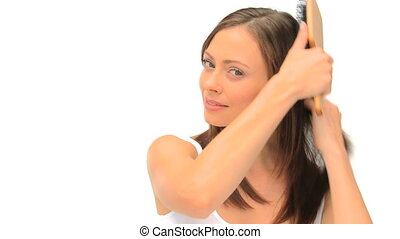 fixation, elle, femme, cheveux