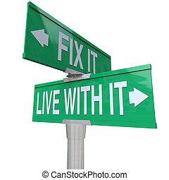 fixer, tolerate, il, deux, vivant, signes, problème, ou, améliorer