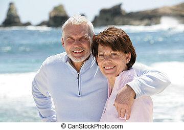 flânerie, couple, plage, vieux, long