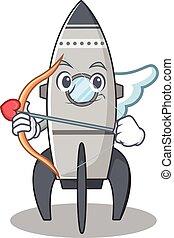 flèche, ailes, fusée, doux, conception, dessin animé, cupidon