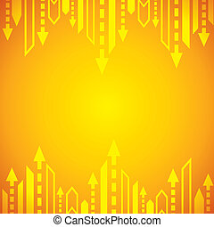 flèche, fond, jaune
