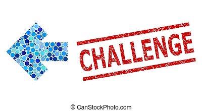 flèche, mosaïque, gauche, impression, timbre, défi, grunge, cercles