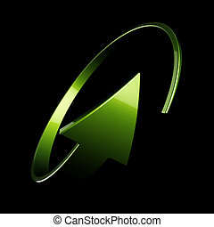 flèche, rond, vert