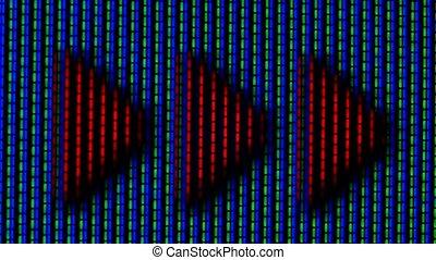 flèche rouge, écran, vidéo, arrière-plan., pixel, fin, bleu, haut., pixels, tv, vert, playback, courant, macro., fonctionnement, couleur