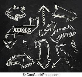 flèche, stylisé, schéma craie
