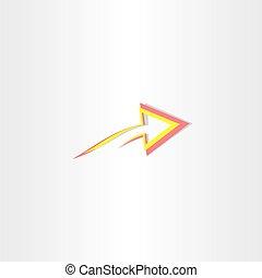 flèche, symbole, résumé, jaune, rouges