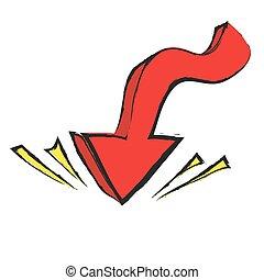 flèche, vecteur, dessin animé, pointage, bas