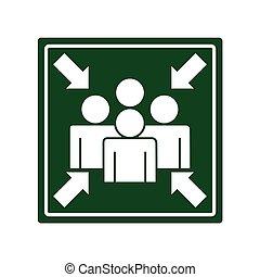 flèches, signal, point réunion
