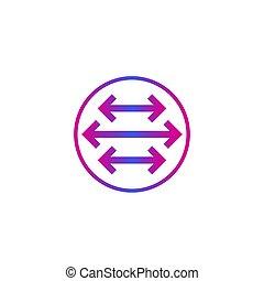 flèches, vecteur, pointu, deux, directions