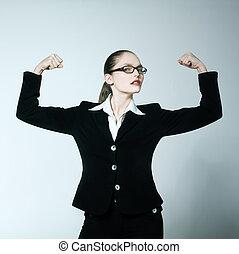 fléchir, puissant, muscles, fier, femme, fort, une