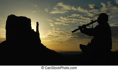 flûte, américain, vallée monument, jouer, levers de soleil, indigène