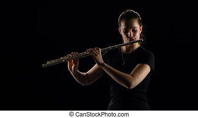 flûte, jeux, femelle noire, melodies., fond, studio, classique