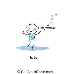 flûte, jeux, homme