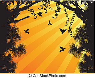fl, silhouette, oiseau, arbre, nature