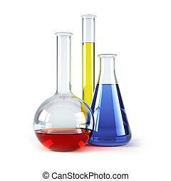 flacons, chimique, reagents