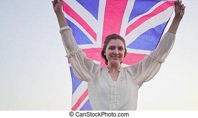 flag., indépendant, femme, englishwoman, jeune, heureux, britannique, patriote